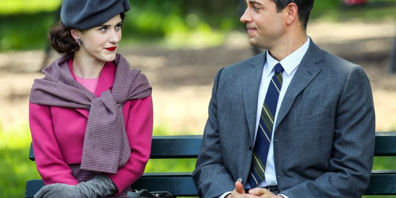 Photos: Rachel Brosnahan & Zachary Levi Filming 'The Marvelous Mrs. Maisel'